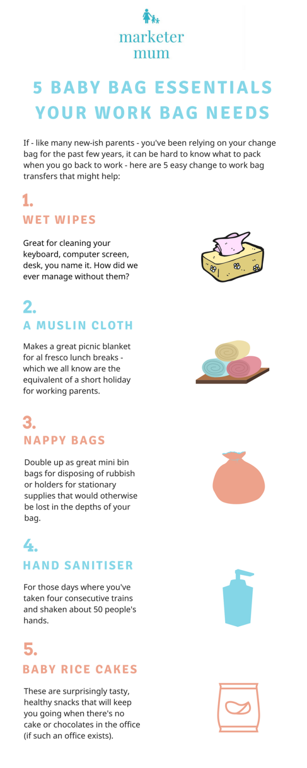 5 baby bag essentials your work bag needs infographic